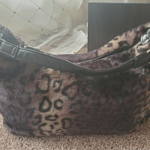 Bueno Faux Fur Leopard Print Handbag